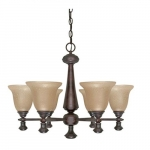 60W 6-Light Mericana Chandelier w/ Amber Water Glass, Bronze