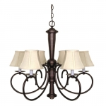 60W 6-Light Mericana Chandelier, Natural Linen Shades, Bronze