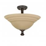 60W 16 in. Mericana Flush Mount, 2-Light, Amber Water Glass, Bronze