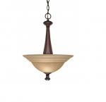 60W 16 in. Mericana Mini Pendant, 2-Light, Amber Water Glass, Bronze