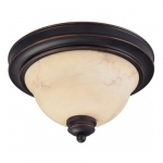 2-Light Small Dome Light Fixture, Copper Espresso, Honey Marble Glass