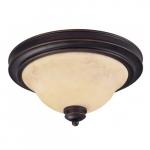 2-Light Medium Dome Light Fixture, Copper Espresso, Honey Marble Glass