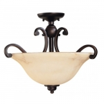 3-Light Semi-Flush Ceiling Fixture, Copper Espresso, Honey Marble Glass