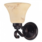 Wall Mounted Vanity Light Fixture, Copper Espresso, Honey Marble Glass