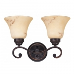 2-Light Wall Mounted Vanity Fixture, Copper Espresso, Honey Marble Glass
