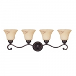 4-Light Wall Mounted Vanity Fixture, Copper Espresso, Honey Marble Glass