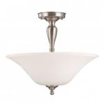Dupont LED Semi Flush Mount Light, Satin White Glass