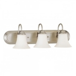 Dupont Vanity Light, Satin White Glass, Brushed Nickel, 3 Lights