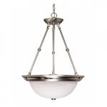 "20"" 3-Light Hanging Pendant Light Fixture, Brushed Nickel, Alabaster Glass"