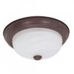 "11"" Flush Mount Ceiling Light Fixture, Old Bronze, Alabaster Glass"