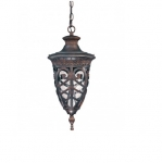 100W Aston Hanging Lantern, Clear Seeded Glass, Dark Plum Bronze