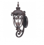 40W Corniche Wall Lantern, Large, Arm Up, Clear Seeded Glass