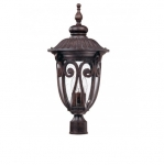 100W Corniche Post Lantern, Large, Clear Seeded Glass, Burlwood