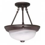 "11"" Semi-Flush Mount Ceiling Light Fixture, Old Bronze, Alabaster Glass"
