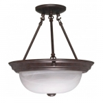 "13"" Semi-Flush Mount Ceiling Light Fixture, Old Bronze, Alabaster Glass"