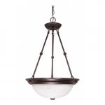 "15"" Hanging Pendant Light Fixture, Old Bronze, Alabaster Glass"