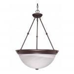 "20"" Hanging Pendant Light Fixture, Old Bronze, Alabaster Glass"