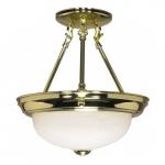 "11"" Semi-Flush Mount Ceiling Light Fixture, Polished Brass, Alabaster Glass"