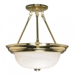 "13"" Semi-Flush Mount Ceiling Light Fixture, Polished Brass, Alabaster Glass"