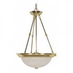 "3-Light 15"" Hanging Pendant Light Fixture, Polished Brass, Alabaster Glass"