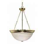 "3-Light 20"" Hanging Pendant Light Fixture, Polished Brass, Alabaster Glass"