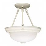 """2-Light 13"""" Semi-Flush Mount Ceiling Light Fixture, Textured White"""