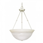 "3-Light 20"" Hanging Pendant Light Fixture, Textured White"