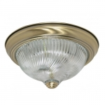 "2-Light 11"" Flush Mount Ceiling Light Fixture, Antique Brass"