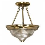 """2-Light 11"""" Semi-Flush Mount Ceiling Light Fixture, Antique Brass"""