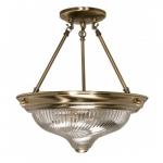 """2-Light 13"""" Semi-Flush Mount Ceiling Light Fixture, Antique Brass"""
