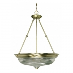 "3-Light 20"" Large Hanging Pendant Light Fixture, Antique Brass"