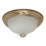 "2-Light 11"" Flush Mount Light Fixture, Antique Brass"