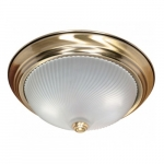 """2-Light 13"""" Flush Mount Light Fixture, Antique Brass"""