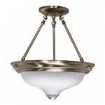 """2-Light 13"""" Semi-Flush Mount Light Fixture, Antique Brass"""