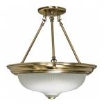 """3-Light 15"""" Semi-Flush Mount Light Fixture, Antique Brass"""