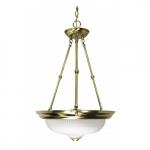 """3-Light 15"""" Hanging Pendant Light Fixture, Antique Brass"""