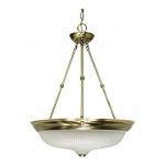 """3-Light 20"""" Hanging Pendant Light Fixture, Antique Brass"""