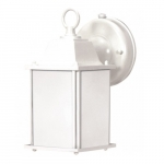 13W Cube Lantern Outdoor Light Fixture w/ Photocell, White, Frosted Glass