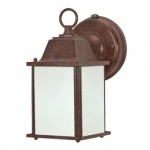 13W Cube Lantern Outdoor Light w/ Photocell, Old Bronze, Frosted Glass