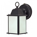 13W Cube Lantern Outdoor Light w/ Photocell, Textured Black, Frosted Glass