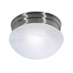 Small Flush Mount Light Fixture, Brushed Nickel, Alabaster Mushroom Glass