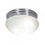 Medium Flush Mount Light Fixture, Brushed Nickel, Alabaster Mushroom Glass