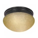 "2-Light 8"" Flush Mount Light, Mahogany Bronze, Champagne Linen Glass"
