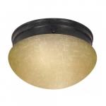 """2-Light 8"""" Flush Mount Light, Mahogany Bronze, Champagne Linen Glass"""