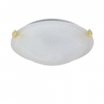 12in Tri-Clip Flush Mount, 1-Light, Polished Brass