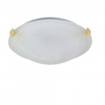 16in Tri-Clip Flush Mount, 2-Light, Polished Brass