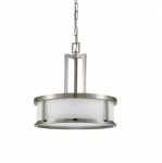 100W 17 in. Oden Light Pendant, White Satin, Brushed Nickel
