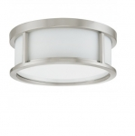 60W 13.125 in. Odeon Flush Mount, White Satin, Brushed Nickel
