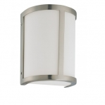100W 8 in. Odeon Wall Sconce Light, White Satin, Brushed Nickel