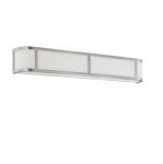 100W 5 in. Odeon Wall Sconce Light, White Satin, Brushed Nickel
